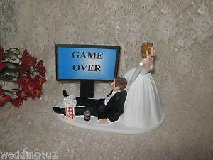 Humorous Wedding Video Game Gaming Computer Geek Groom Cake Topper