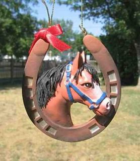 Holiday Bay Horse Head Horseshoe Resin Christmas Ornament Nice