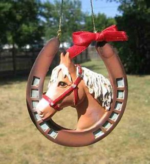 Holiday Palomino Horse Head Horseshoe Resin Christmas Ornament  Sale