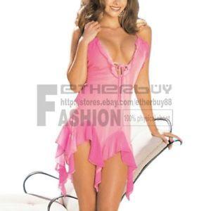 Women Ladies Sexy Hot pink Lace Gauze Lingerie Dress G String Costume Sleepwear