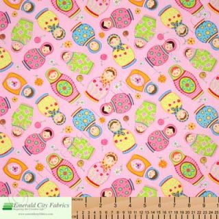 Timeless Treasures Russian Dolls Pink Kids Cotton Quilt Quilting Fabric Yardage