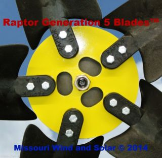 5 Raptor Generation 5 Blades and Hub for Wind Turbine Generators Made in The USA