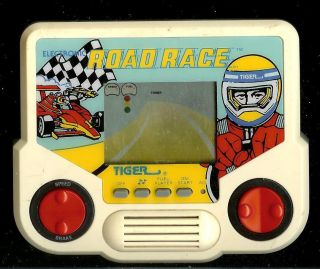 1990s Road Race Tiger Electronic Handheld Arcade Car Racing LCD Pocket Toy Game