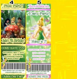 Tinkerbell Custom Birthday Invitations Ticket Style