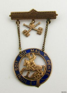 Sons of St George Fraternal Pin Medal 10K Yellow Gold Honi Soit Qui Mal Y Pense