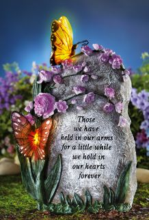 Solar Lighted Garden Memorial Sculpture Guardian Angel Butterfly Angel Wing
