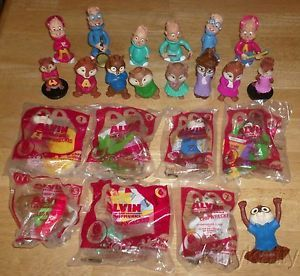 2 McDonalds 2009 2011 2 KFC 1990 Alvin Chipmunks Set Kids Meal Toy 2 Toppers