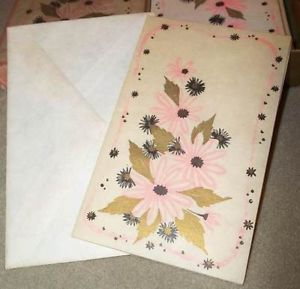 Vtg Volland Parchment Paper Blank Greeting Cards Pink N Gold Unused Boxed