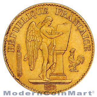 Random Date 1871 1898 French Gold 20 Francs Angel Type Coin 1867oz agw SKU29056