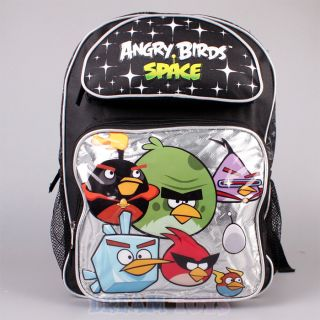 """Rovio Angry Birds Space Backpack Silver 16"""" Large Book Bag Boys Girls Kids"""