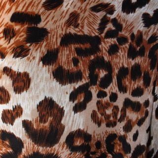 Brown Leopard Strapless Party Gown Evening Cocktail Long Maxi Dress Size S