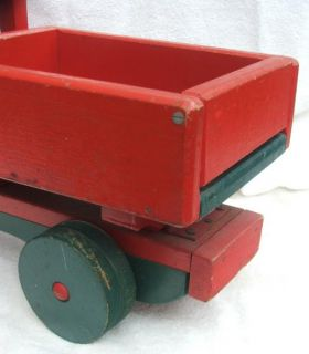 Big Red Dump Truck 1953 Antique Hand Crafted Wood Grandads Toy Shop Thetford VT
