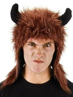 Brown Minotaur Furry Hoodie Hat Cosplay Horns Hoody Monster Costume Greek
