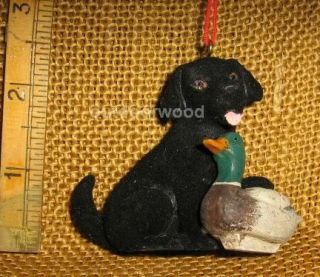 Cannon Falls Black Lab Puppy Dog with Duck Decoy Hunting Ornament New