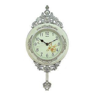 Fabulous Antique Linseng Wooden Pendulum White Wall Clock 24x15