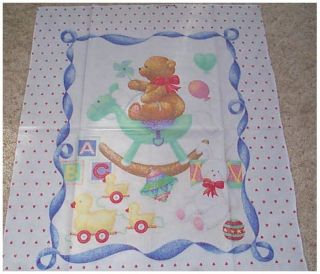 Teddy Bear Rocking Horse Hearts Quilt Panel Fabric