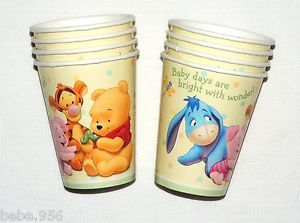 Baby Winnie The Pooh Baby Day's 8 Paper Cups Baby Shower Party Supplies