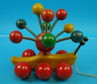 Vtg Kouvalias Kids Pull Floor Toy Colorful Spring Mounted Rotating Wood Balls