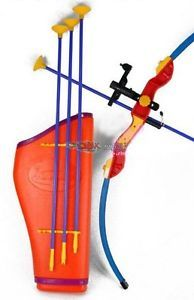 """32"""" Toy Archery Bow and Arrow Set for Kids Four Suction Cup Arrows Quiver"""