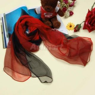 Sexy Lady Soft Long Silk Scarf Wrap Shawl Gradient Red and Black Party Dress New