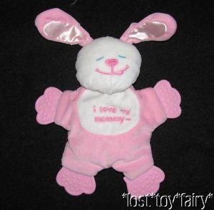 "10"" Kids 2 Grow Danara Pink Bunny I Love My Mommy Teether Baby Teething Soft Toy"