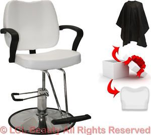 White Hydraulic Barber Styling Chair Cover Hair Cutting Beauty Salon Equipment