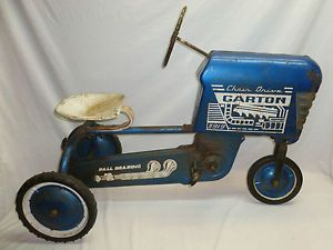 Vtg Old Antique Metal Garton Chain Drive Blue Tractor Pedal Car Ride on Toy