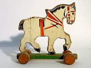 Antique Children Toy Horse Painted Carved Wood Folk Art Germany 1900 30s