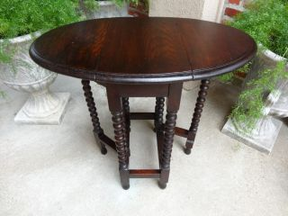 Super Petite Antique English Oak Bobbin Drop Leaf Gateleg End Tea Table