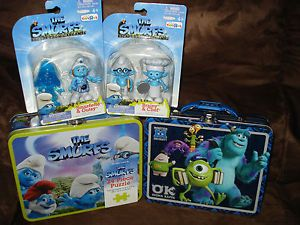 Kids Disney 3D Monsters University The Smurfs Steel Tin Lunch Box Toy Figure Lot