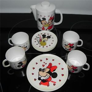 Complete Set for 4 Mickey Minnie Mouse Walt Disney Childrens Toy Tea Set Dishes