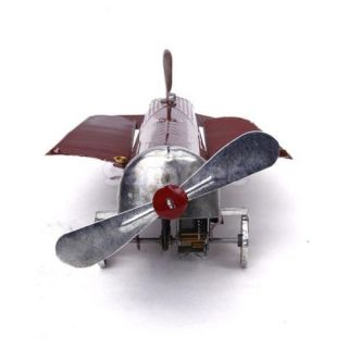 Red Wind Up Wing Airplane Tin Toy Mechanical Clockwork Kid Collectible Gift RARE