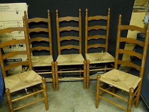 ... 5 Antique Ladder Back Woven Cane Seat Chairs ...
