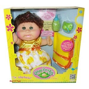 Cabbage Patch Kids Babies Doll Curly Brown Hair Green Eyes