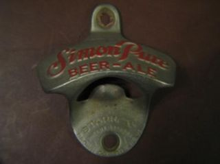 Starr x Bottle Opener Wall Mount Vtg Simon Pure Beer Ale 29 USA