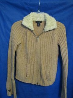 Abercrombie Wool Blend Zip Up Sweater Fur Collar XL