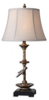 """New 32 5"""" Polyresin Aereo Gold Leaf Table Lamp w Light Beige Round Bell Shade"""