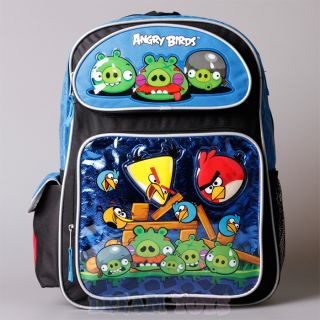 "Rovio Angry Birds Blue Metallic 16"" Large Backpack Book Bag Boys Girls Kids"