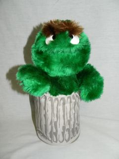 """Vtg 12"""" Plush Applause Sesame Street Oscar The Grouch in Garbage Trash Can"""