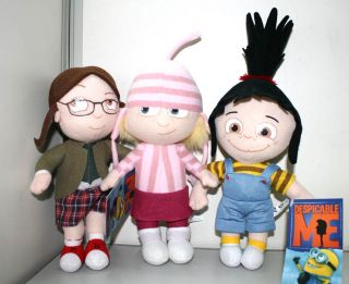 4pcs Despicable Me Character Agnes Edith Margo Fluffy Unicorn Plush Toys 9""