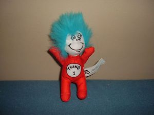 Dr Seuss Cat in The Hat Thing 1 Plush Toy Figure Stuffed Animal from Burger King