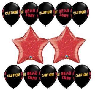 Dead Walking Zombie Party Supplies Black Caution Balloons Decorations Stars Set