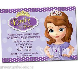 Sofia The First Invitation Birthday Party Custom Invites Supplies Favors SF5