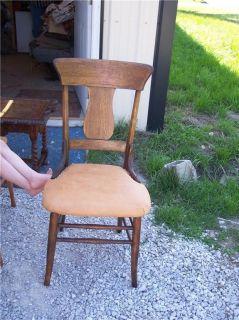 Quartersawn Oak T Backdinette Chair Sidechair Desk Chair Tan Leather Seat