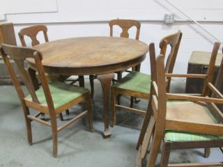 Vintage Antique Round Oak Table 6 Side Chairs Cloth Leather Wood Old Dining