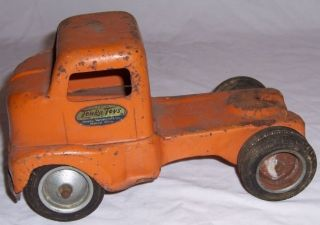Vintage '50s Pressed Metal Tonka Toys Orange Truck Cab Only Way Cool Kids Toy