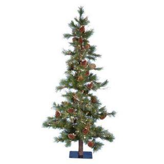 Kurt Adler 7' Pre Lit Country Rustic Pine Cone Glitter Artificial Christmas Tree