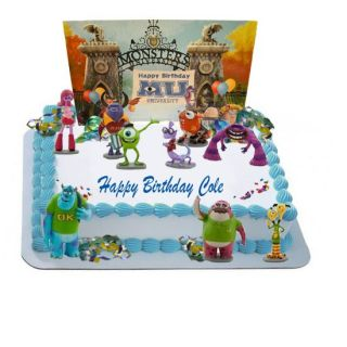 Monsters University Party Cake Decorating Kit 10 Figurines 1 Backdrop Scene