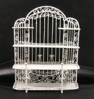 Miniature White Wire Baker's Rack Display Shelf with Matching Chair