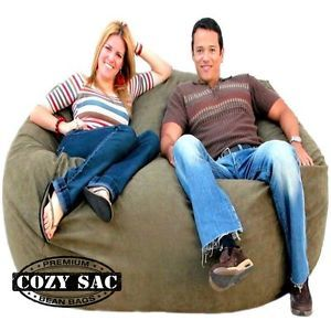 6' Cozy Sac Chair Olive Suede Bean Bag Love Seat Sack